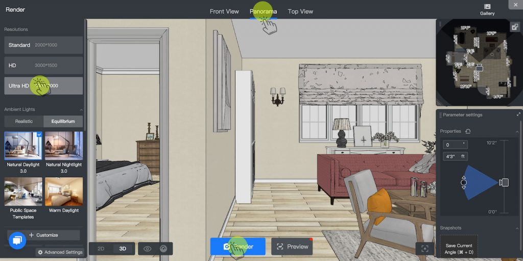 Select Panorama and Ultra HD resolution for your interior rendering