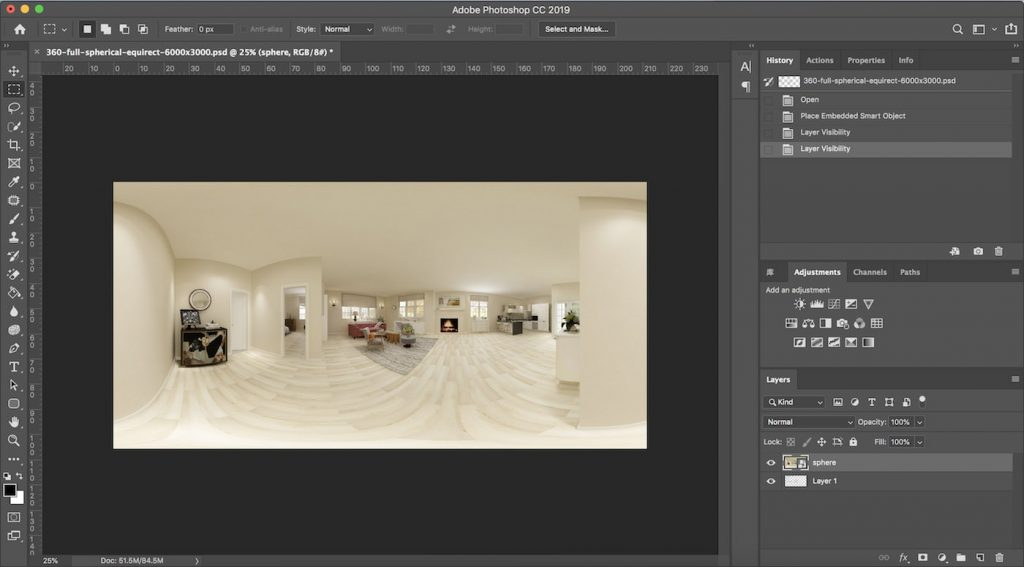 Add your panorama rendering into the Photoshop template